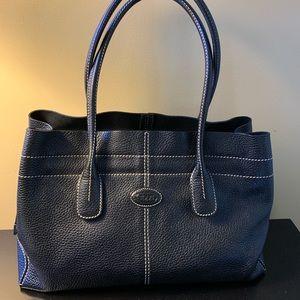 TOD'S Black Calfskin Medium D-Bag Tote Bag